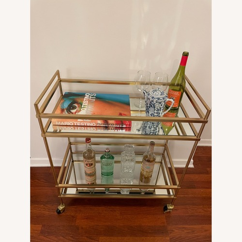Used West Elm Terrace Bar Cart in Gold for sale on AptDeco