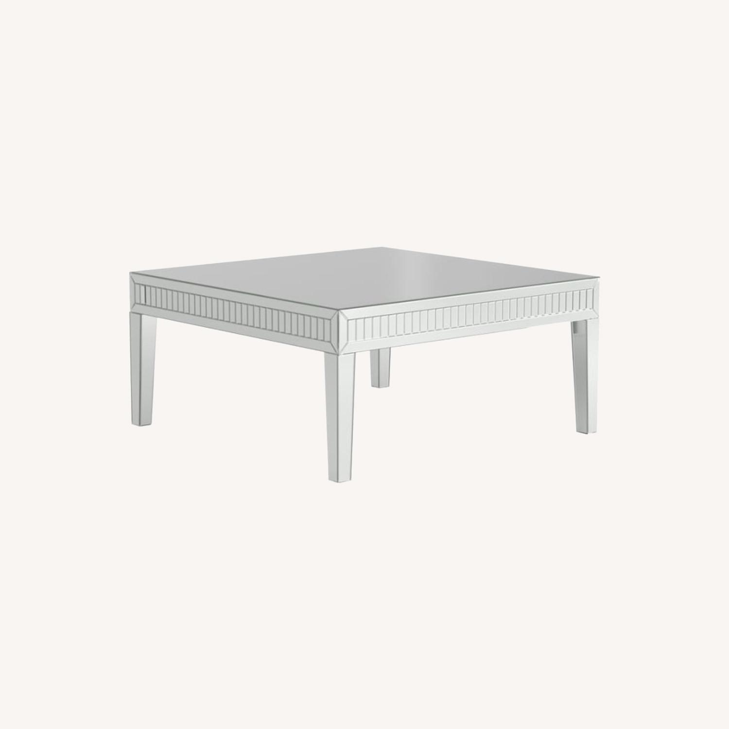 Coffee Table In Silver Finish W/ Mirror Tile Frame - image-5