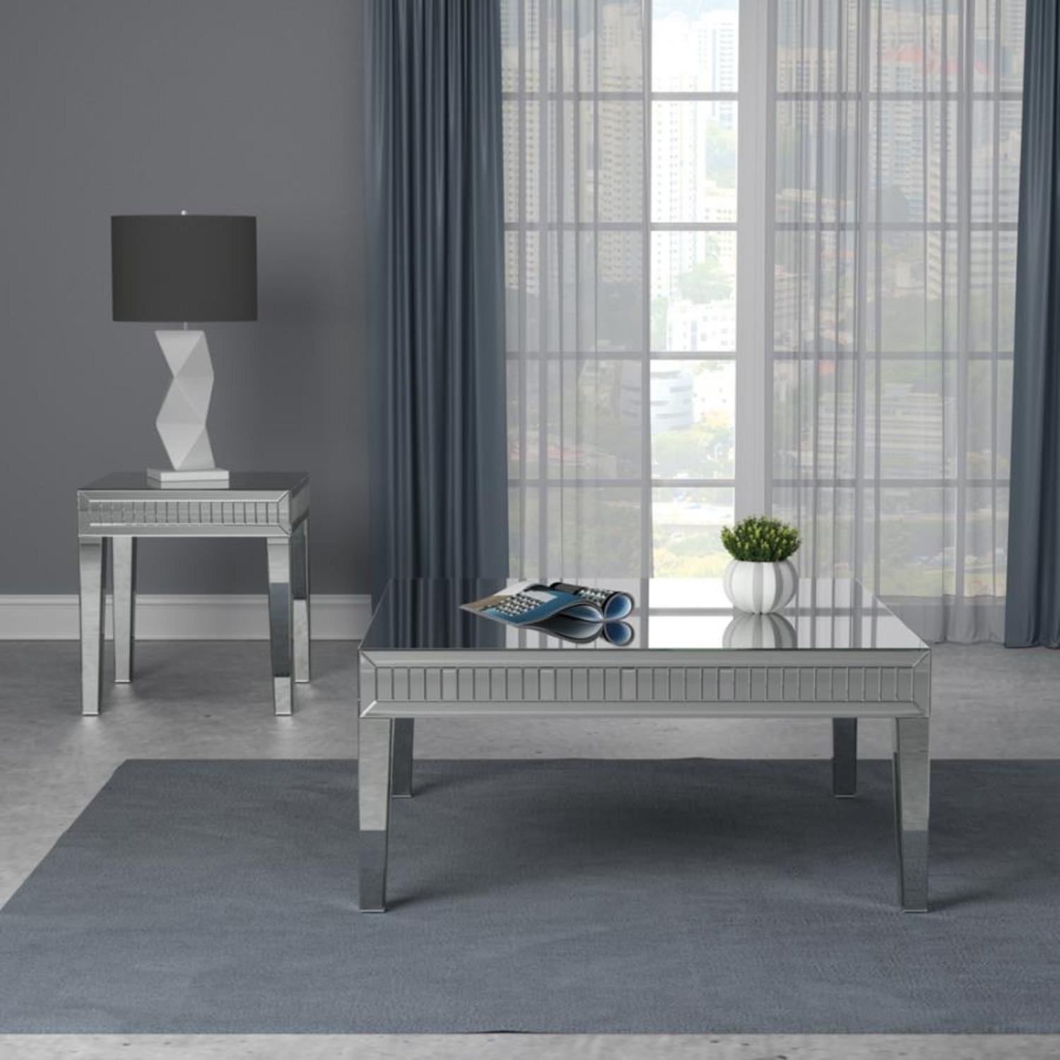 Coffee Table In Silver Finish W/ Mirror Tile Frame - image-3