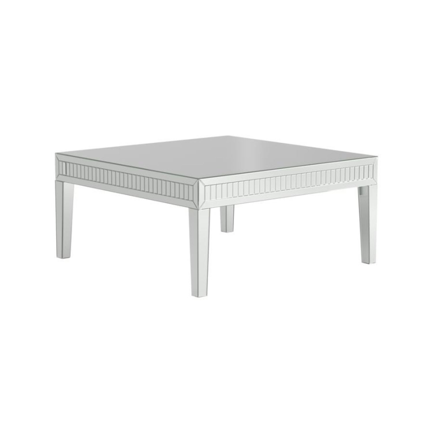 Coffee Table In Silver Finish W/ Mirror Tile Frame - image-0
