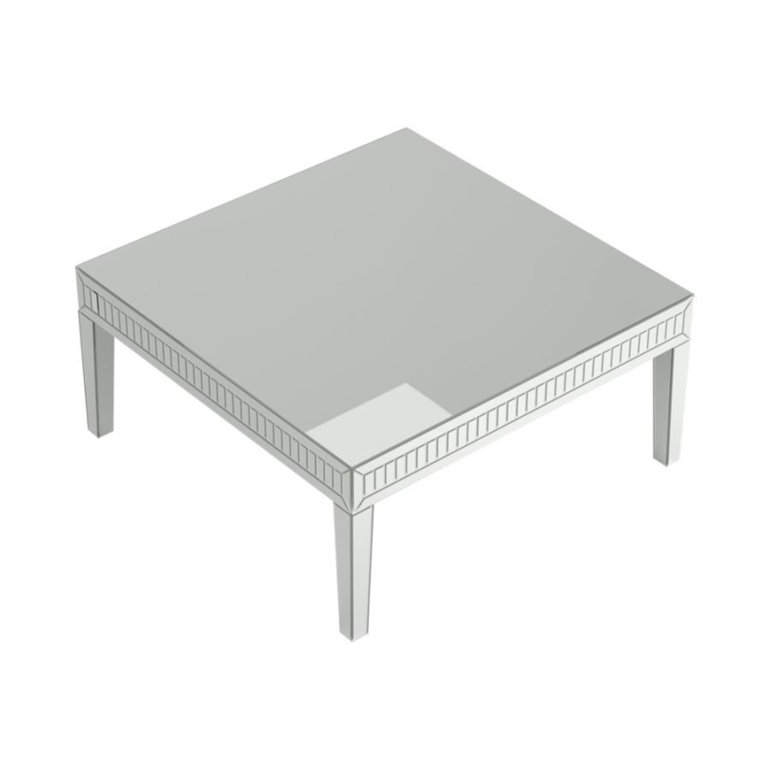 Coffee Table In Silver Finish W/ Mirror Tile Frame - image-2