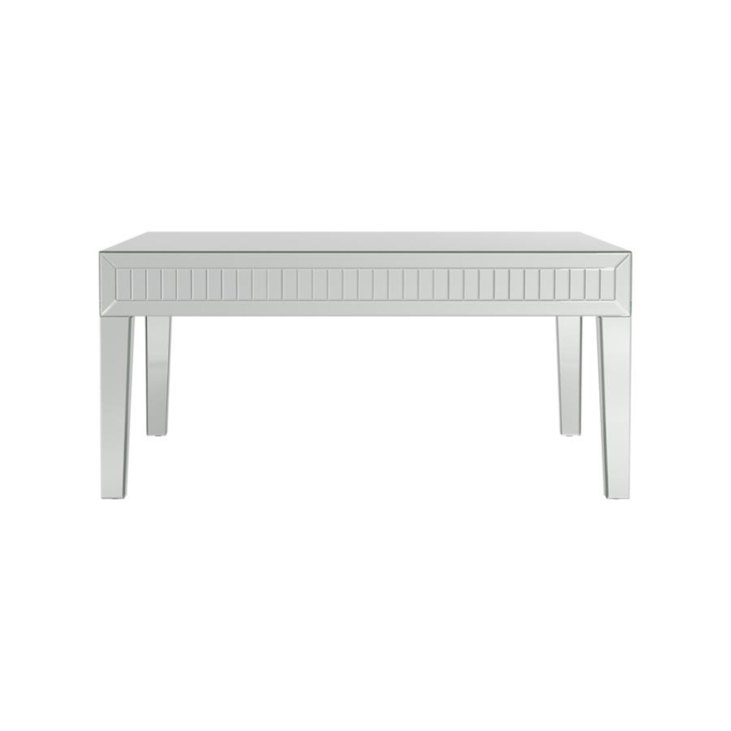 Coffee Table In Silver Finish W/ Mirror Tile Frame - image-1