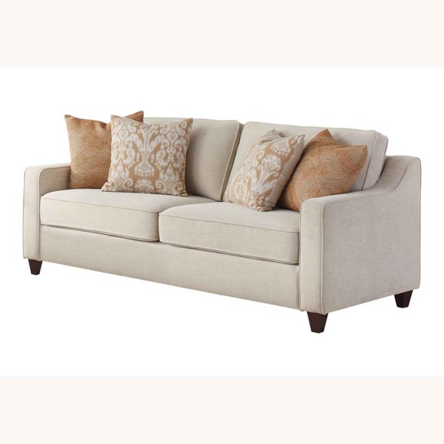 Sofa In Textured Beige Woven Chenille Finish - image-0