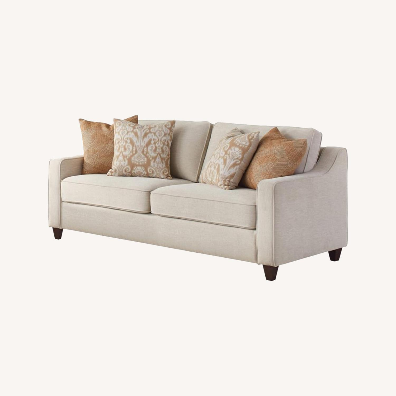 Sofa In Textured Beige Woven Chenille Finish - image-4