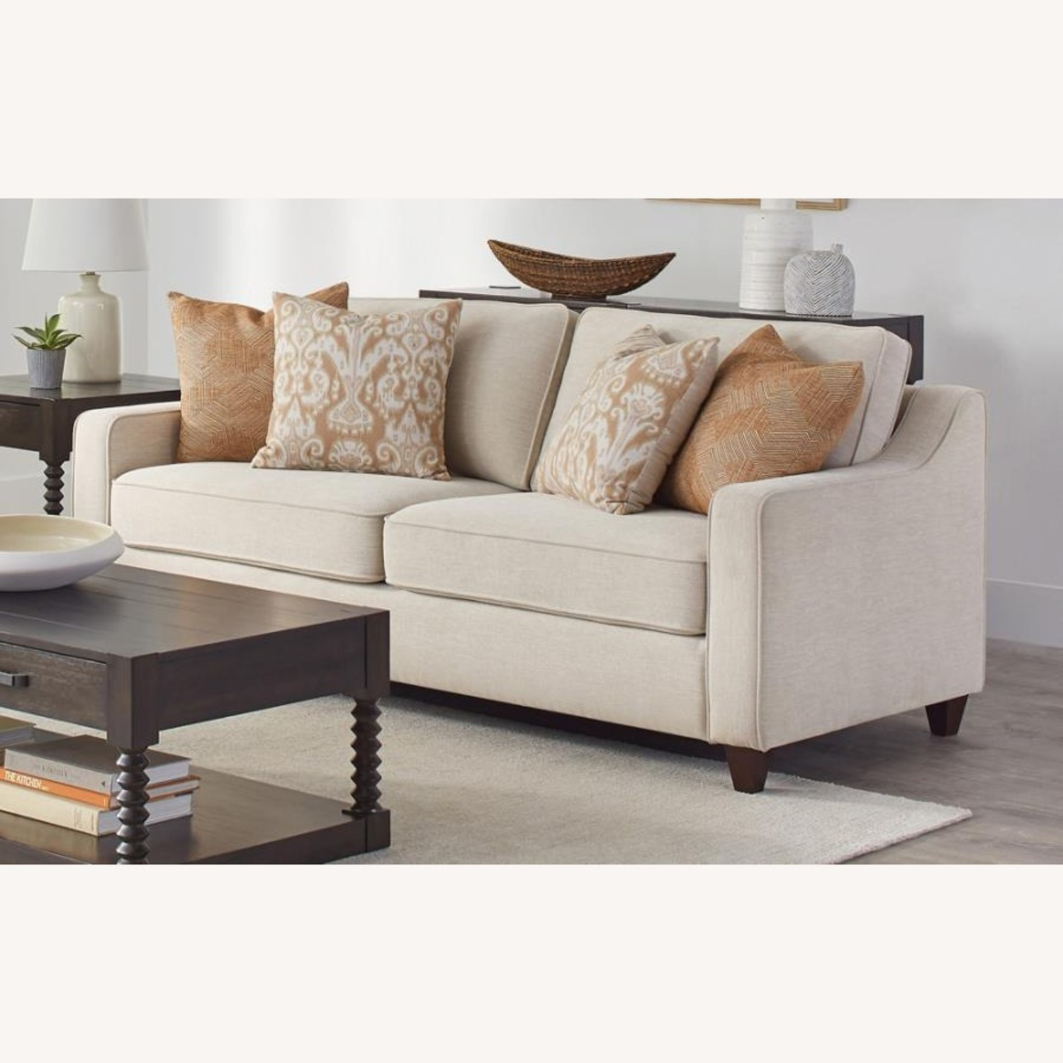 Sofa In Textured Beige Woven Chenille Finish - image-1