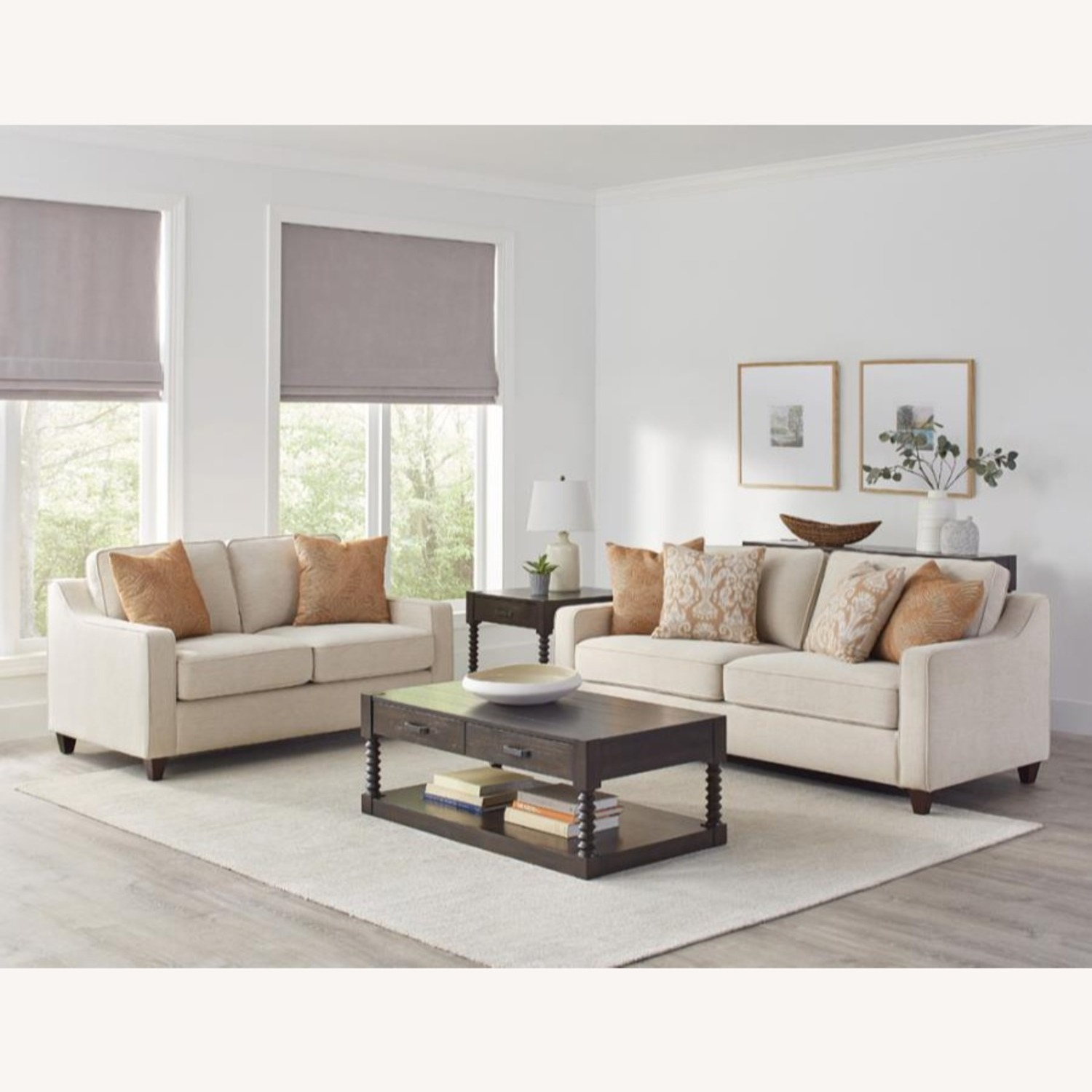 Sofa In Textured Beige Woven Chenille Finish - image-2