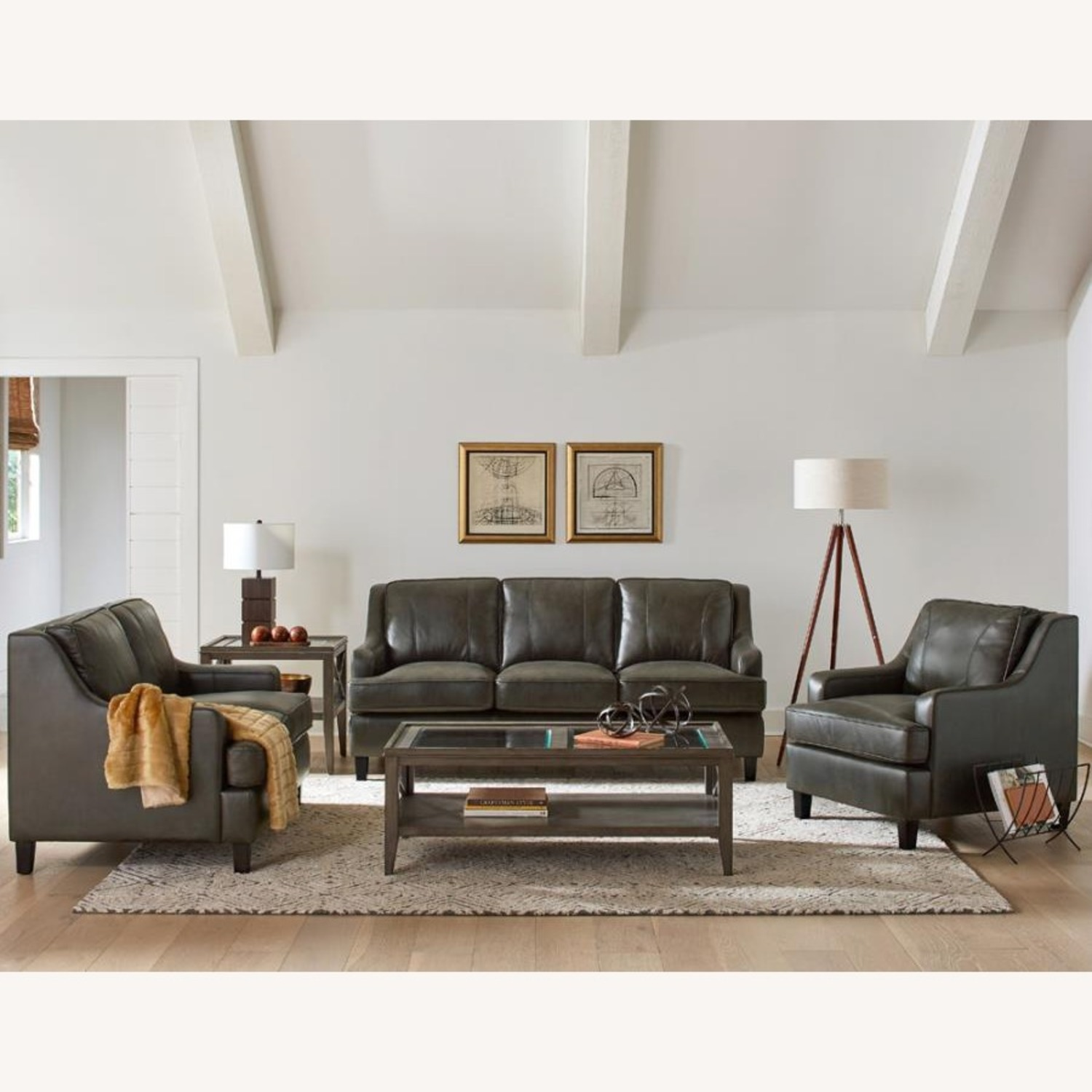 Sofa In Grey Leatherette W/ Stitching Details - image-2
