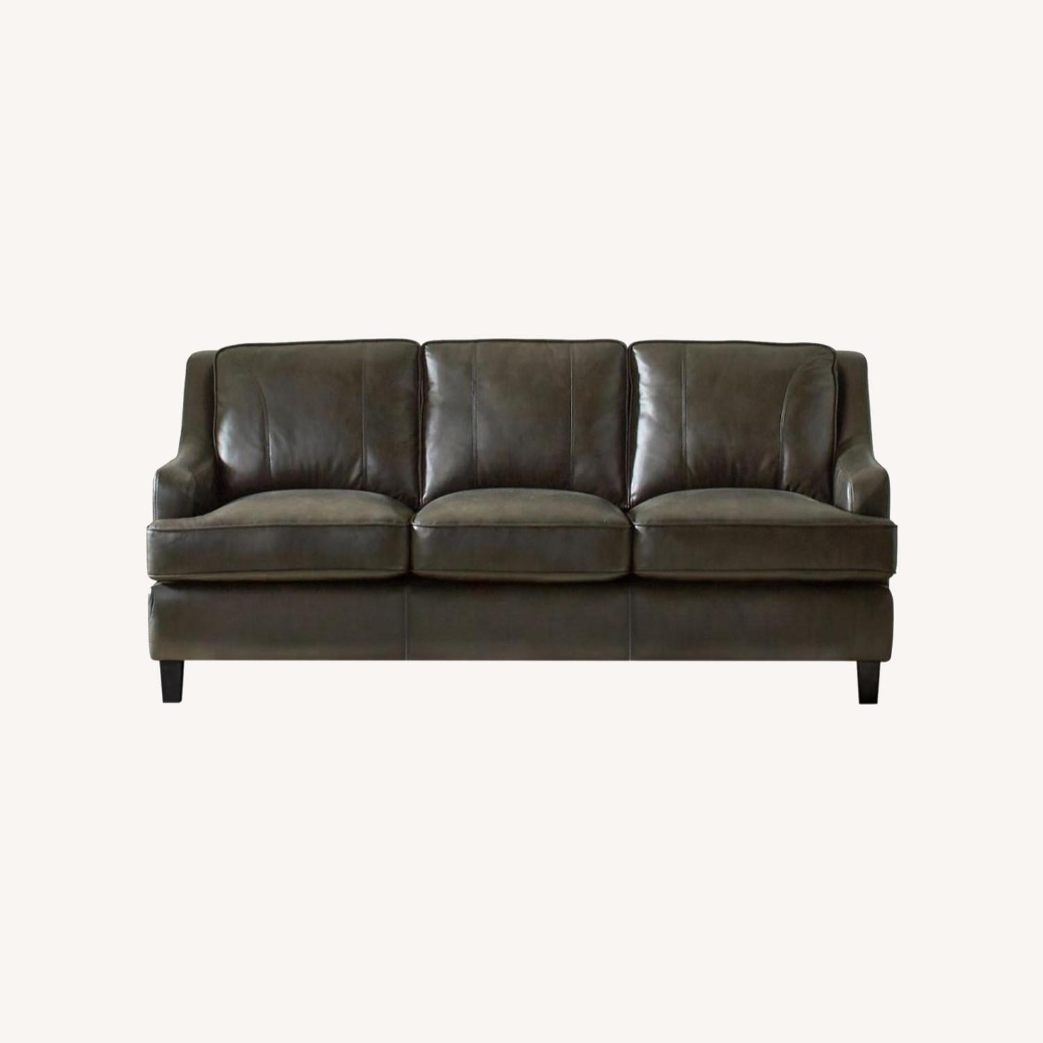 Sofa In Grey Leatherette W/ Stitching Details - image-4
