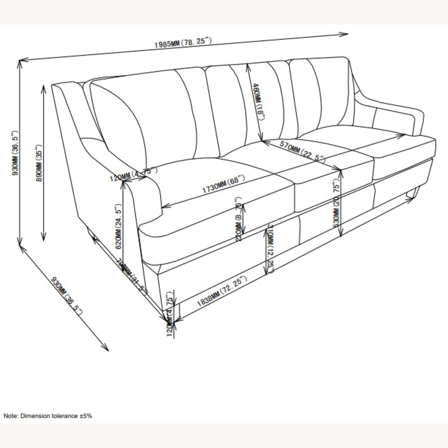 Sofa In Grey Leatherette W/ Stitching Details - image-3