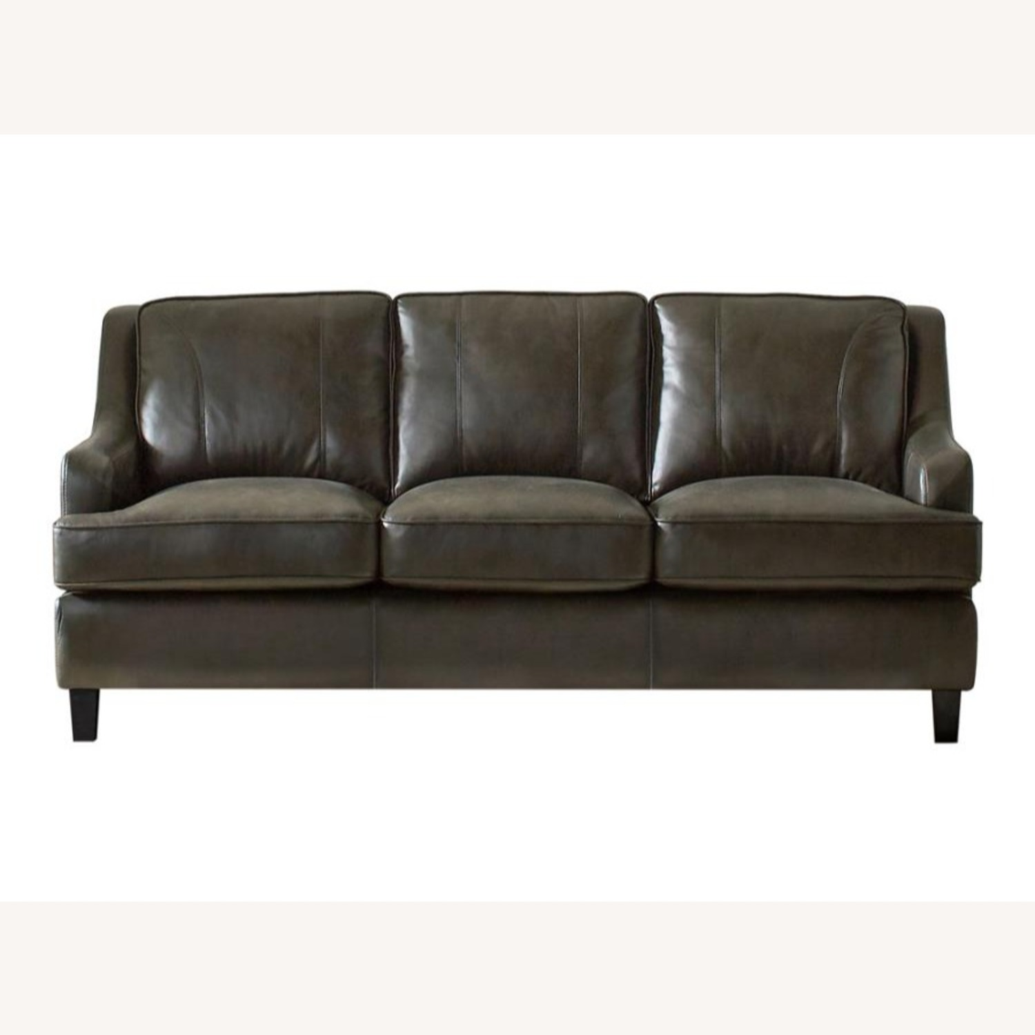 Sofa In Grey Leatherette W/ Stitching Details - image-0