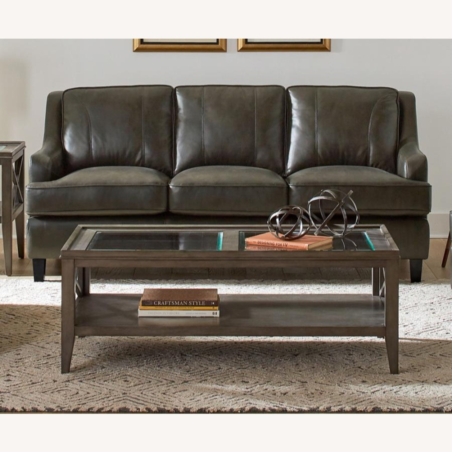 Sofa In Grey Leatherette W/ Stitching Details - image-1
