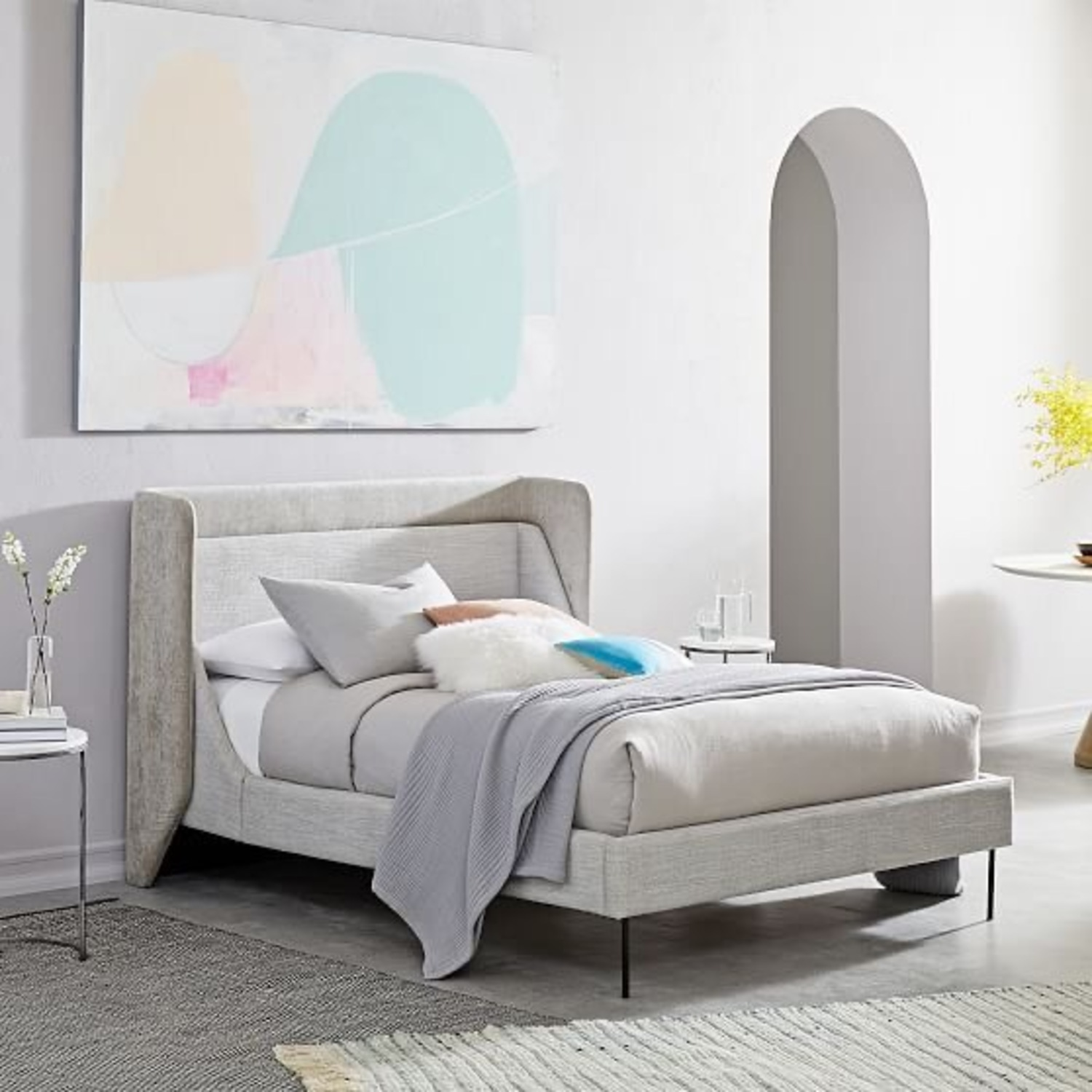 West Elm Thea Wing Bed (King Size) - image-0