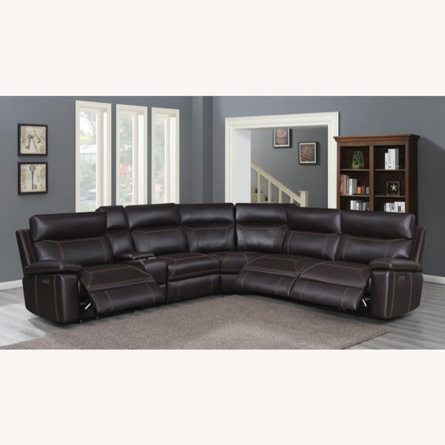 6-Piece Power2 Sectional In Brown Leatherette - image-9