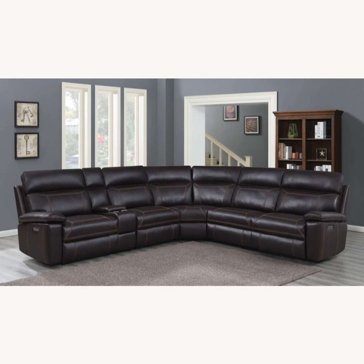 6-Piece Power2 Sectional In Brown Leatherette - image-8