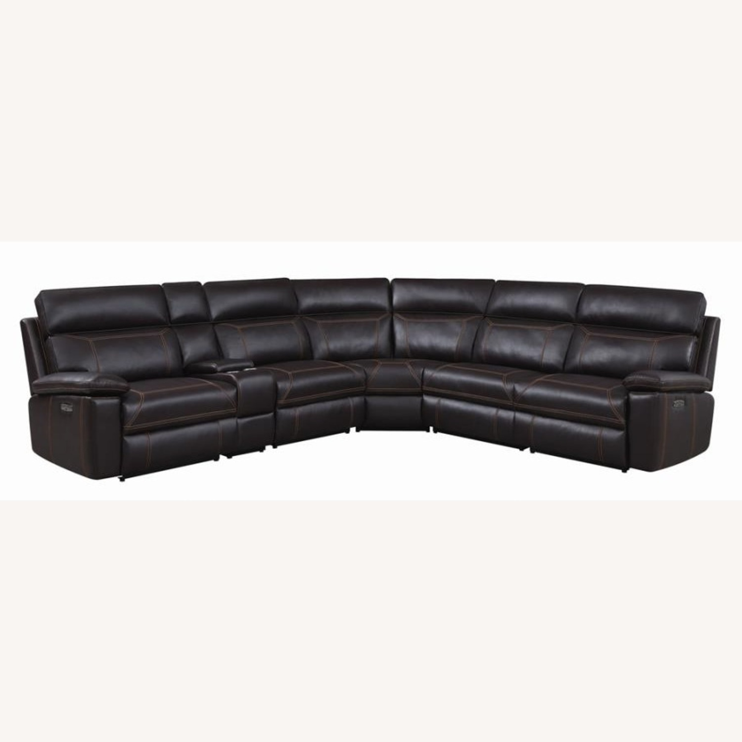 6-Piece Power2 Sectional In Brown Leatherette - image-0