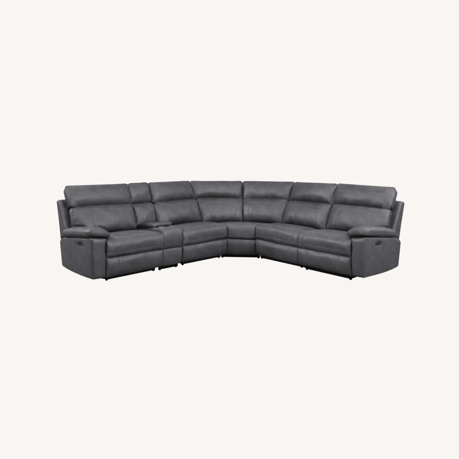 6-Piece Power2 Sectional In Grey Leatherette - image-11