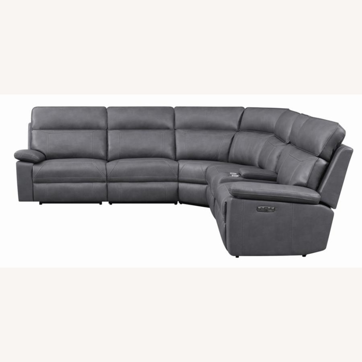 6-Piece Power2 Sectional In Grey Leatherette - image-5