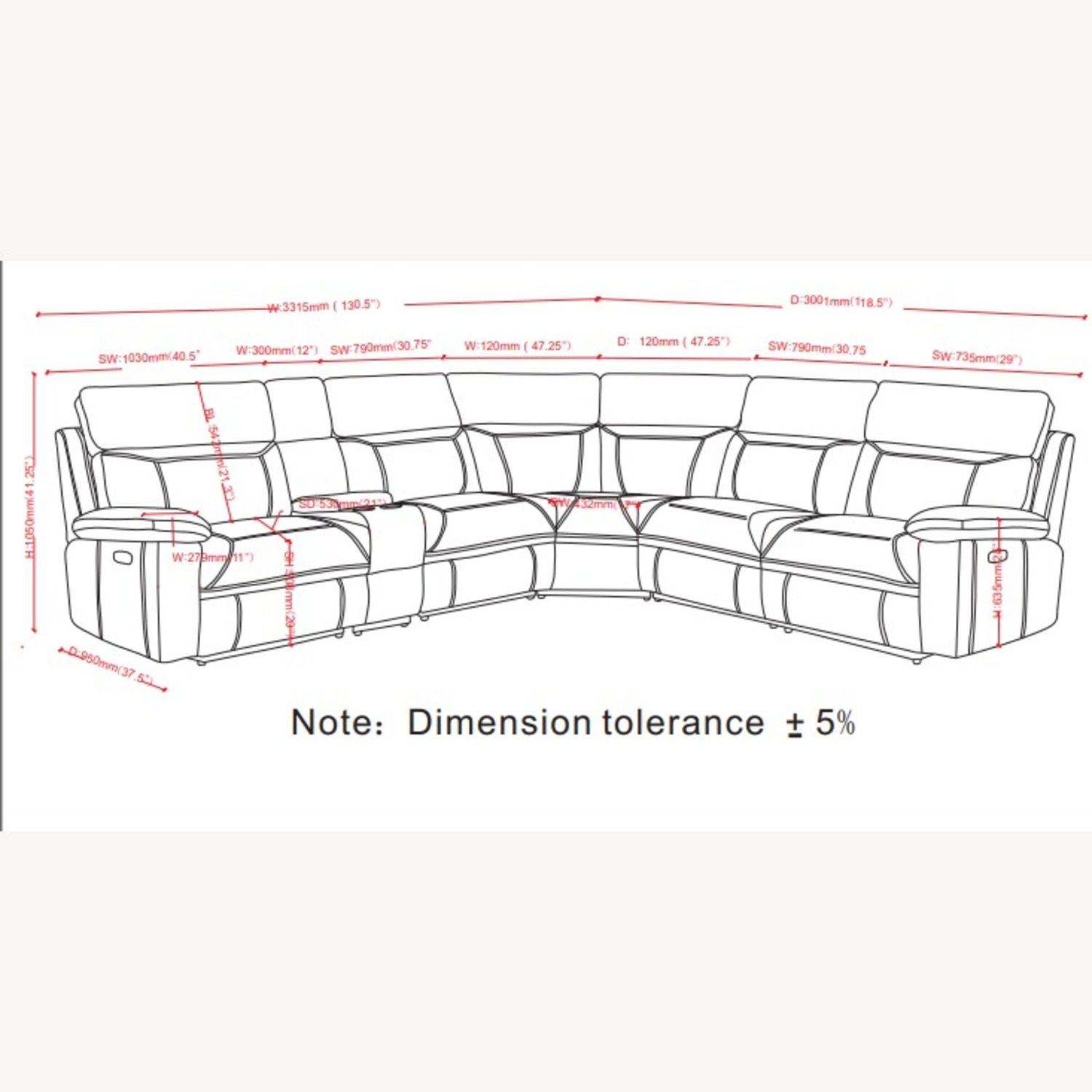 6-Piece Power2 Sectional In Grey Leatherette - image-10