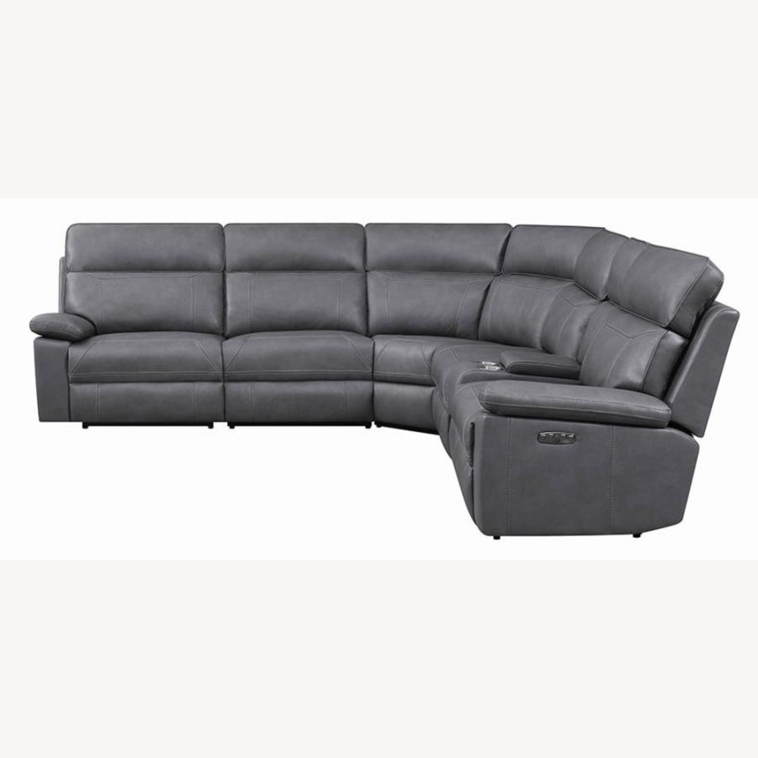 6-Piece Power2 Sectional In Grey Leatherette - image-2