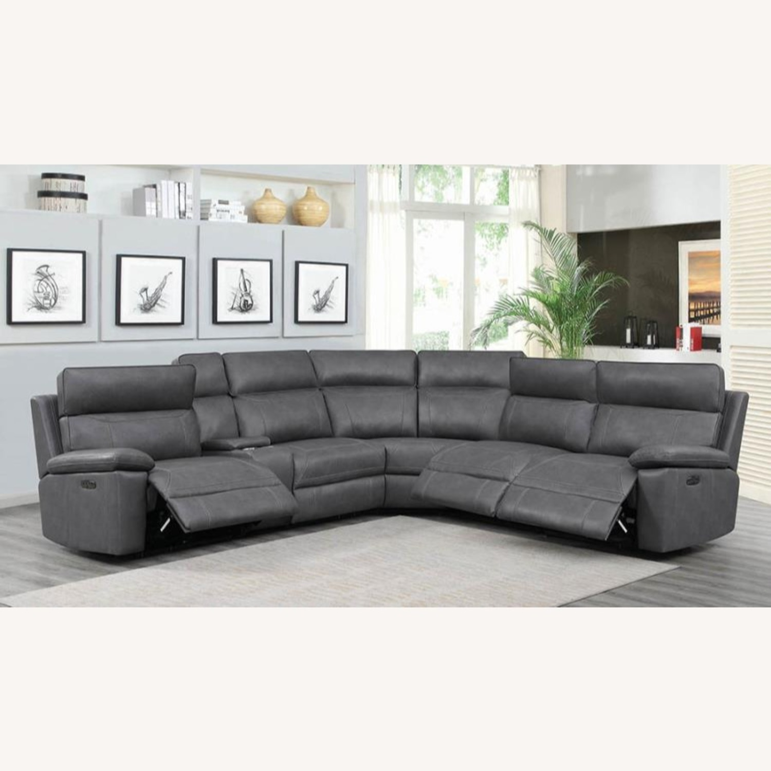 6-Piece Power2 Sectional In Grey Leatherette - image-8