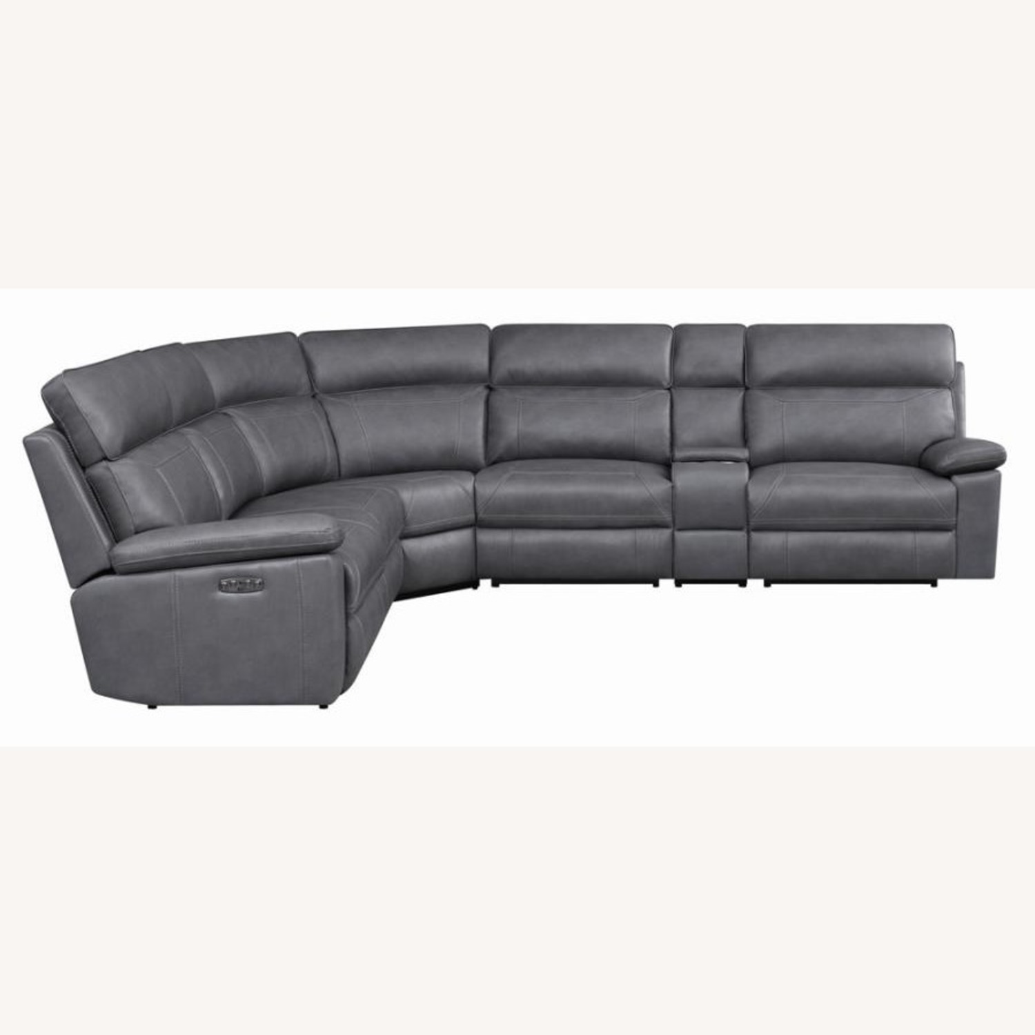 6-Piece Power2 Sectional In Grey Leatherette - image-0