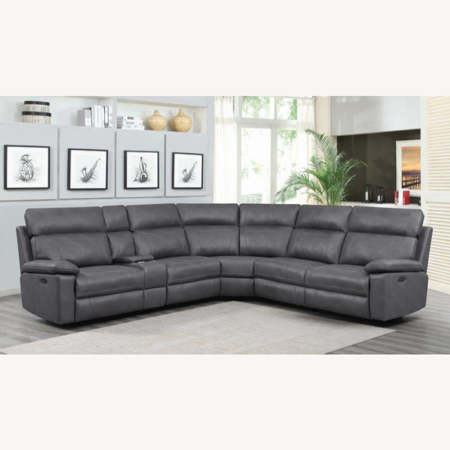 6-Piece Power2 Sectional In Grey Leatherette - image-9