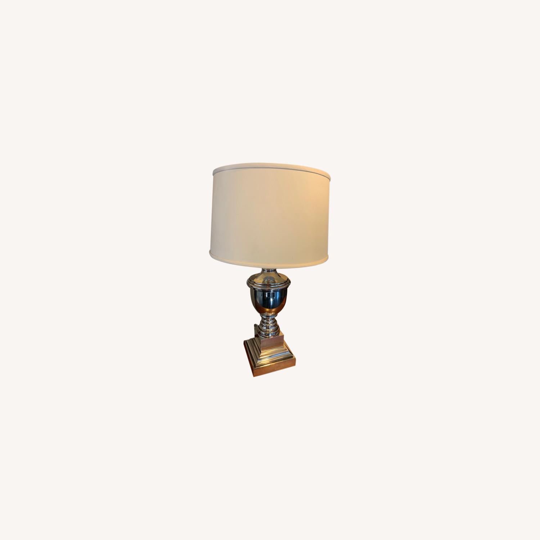 Ethan Allen Otis Large Silver Table Lamp - Pair - image-0