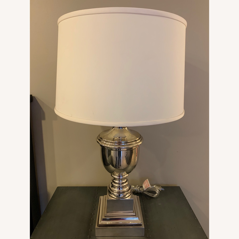 Ethan Allen Otis Large Silver Table Lamp - Pair - image-5