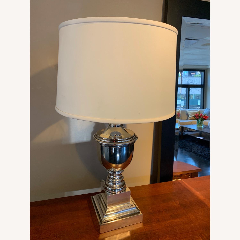 Ethan Allen Otis Large Silver Table Lamp - Pair - image-4