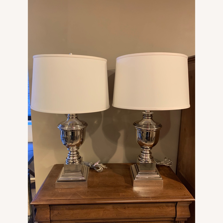 Ethan Allen Otis Large Silver Table Lamp - Pair - image-1