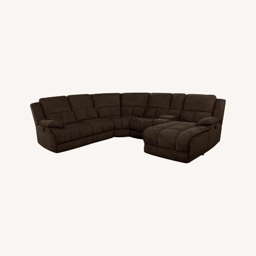 Used Motion Sectional In Brown Performance Fabric for sale on AptDeco