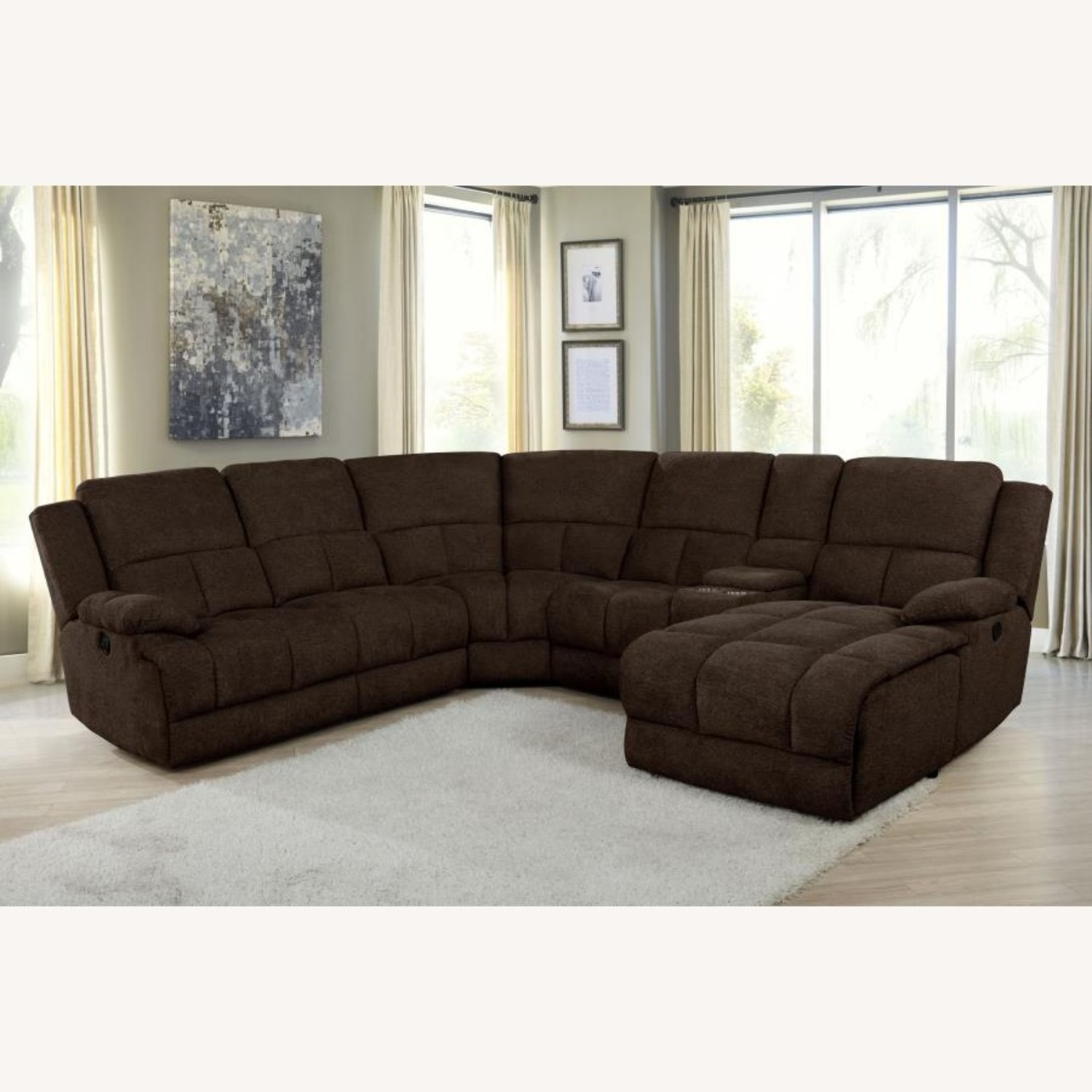 Motion Sectional In Brown Performance Fabric - image-0