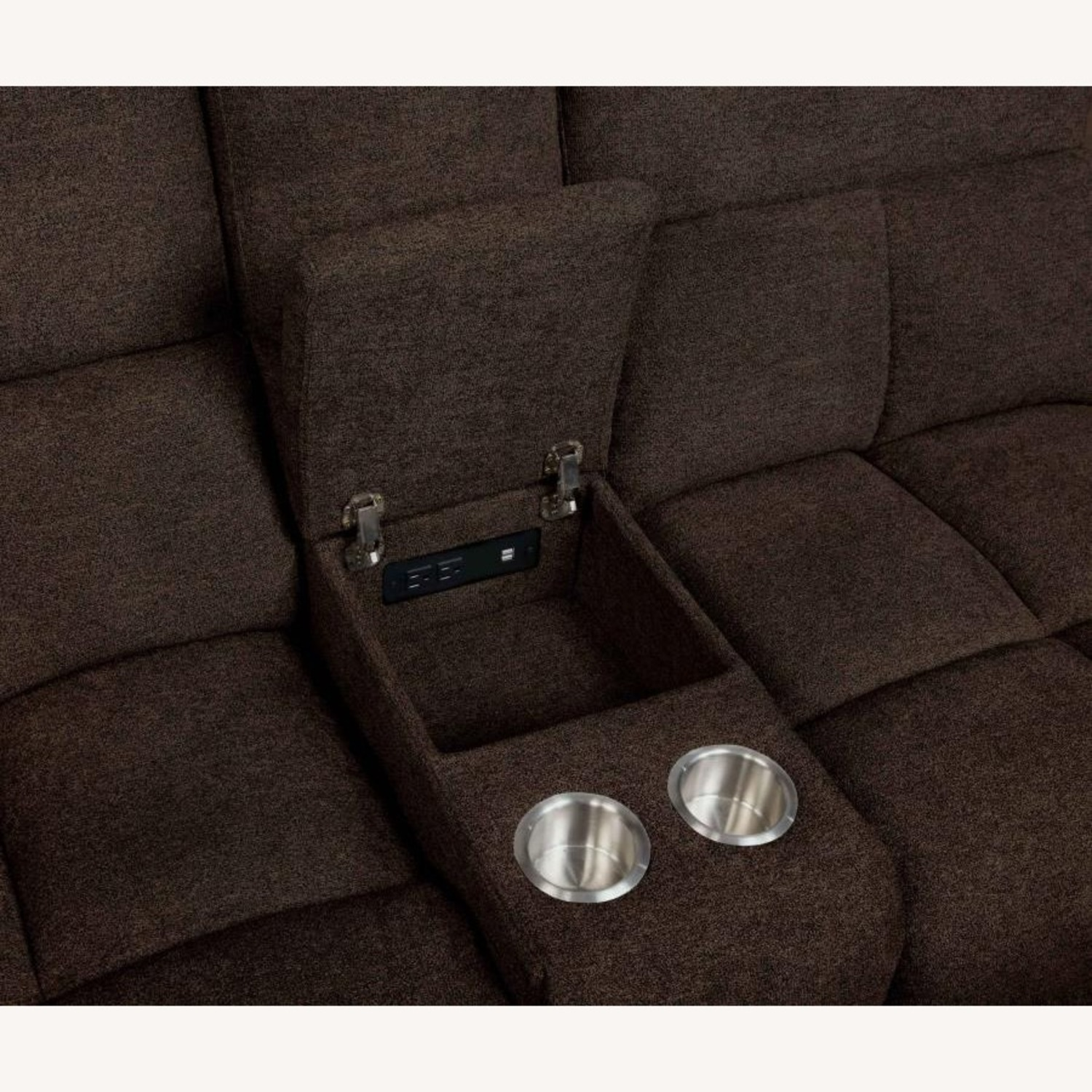 Motion Sectional In Brown Performance Fabric - image-9