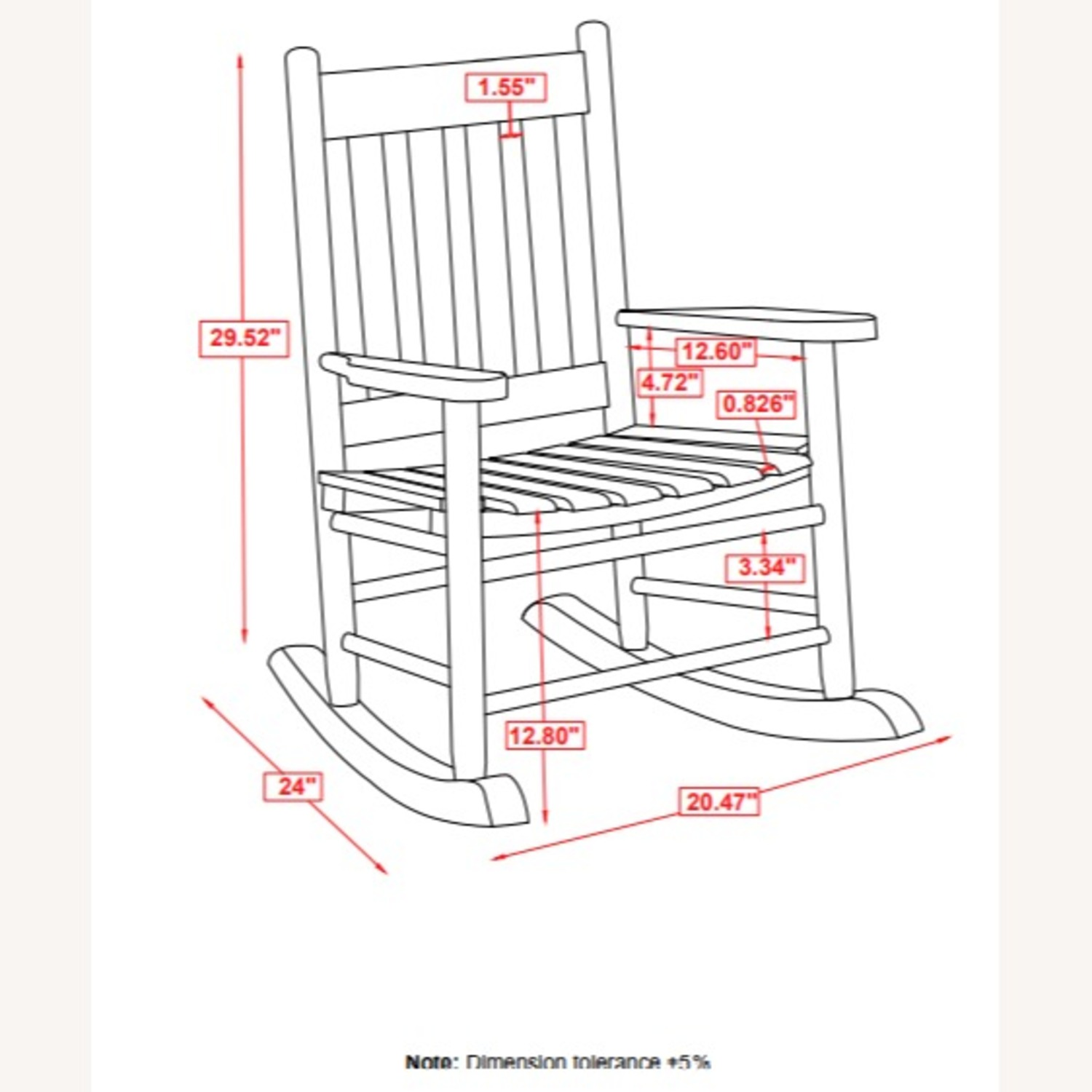 Youth Rocking Chair In Black Solid Acacia Wood - image-3