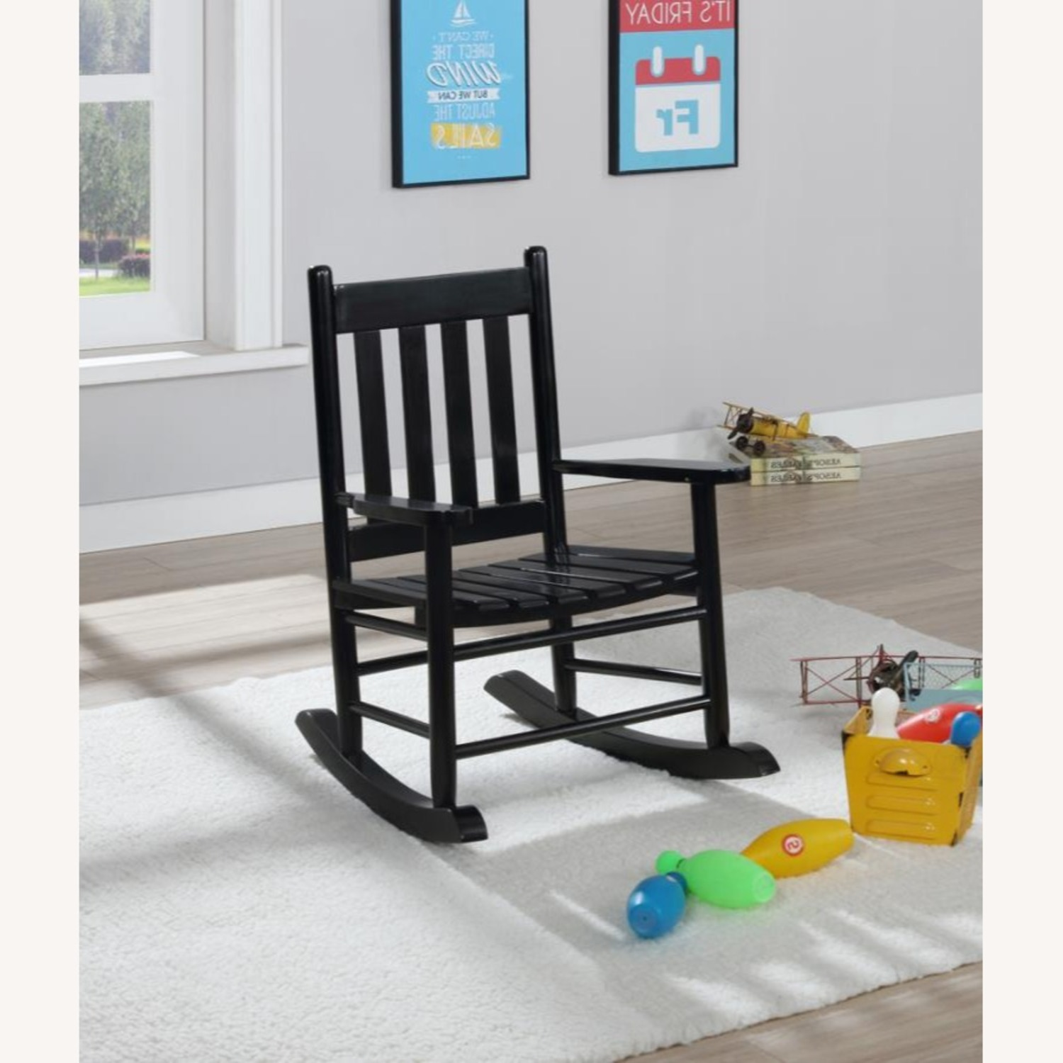 Youth Rocking Chair In Black Solid Acacia Wood - image-2