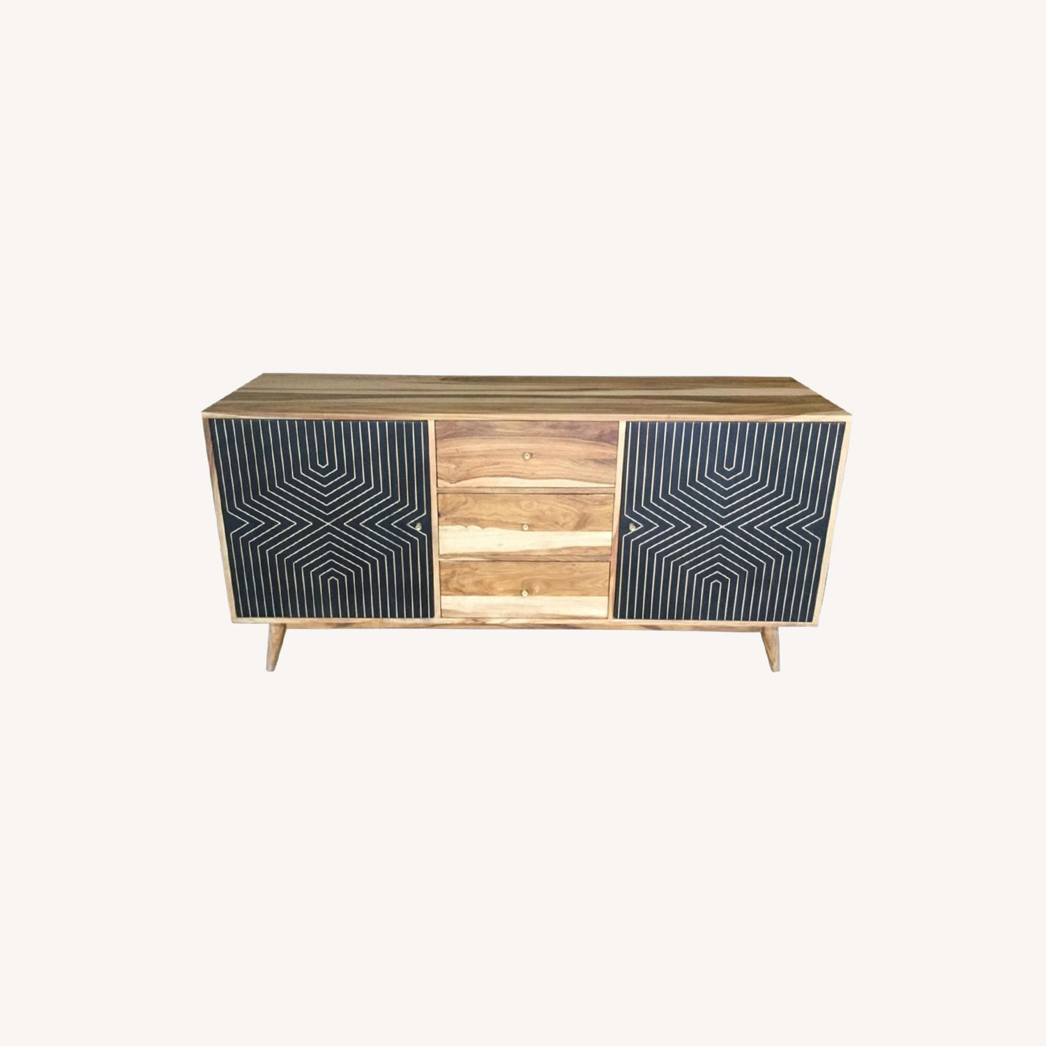 Server In Natural Finish W/ Art Deco Inspired - image-4
