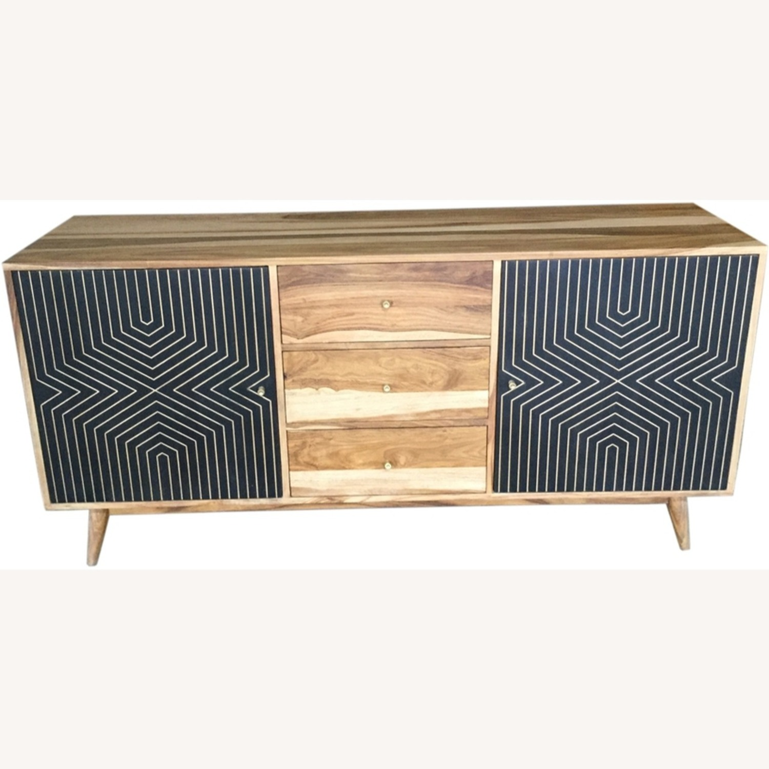 Server In Natural Finish W/ Art Deco Inspired - image-2