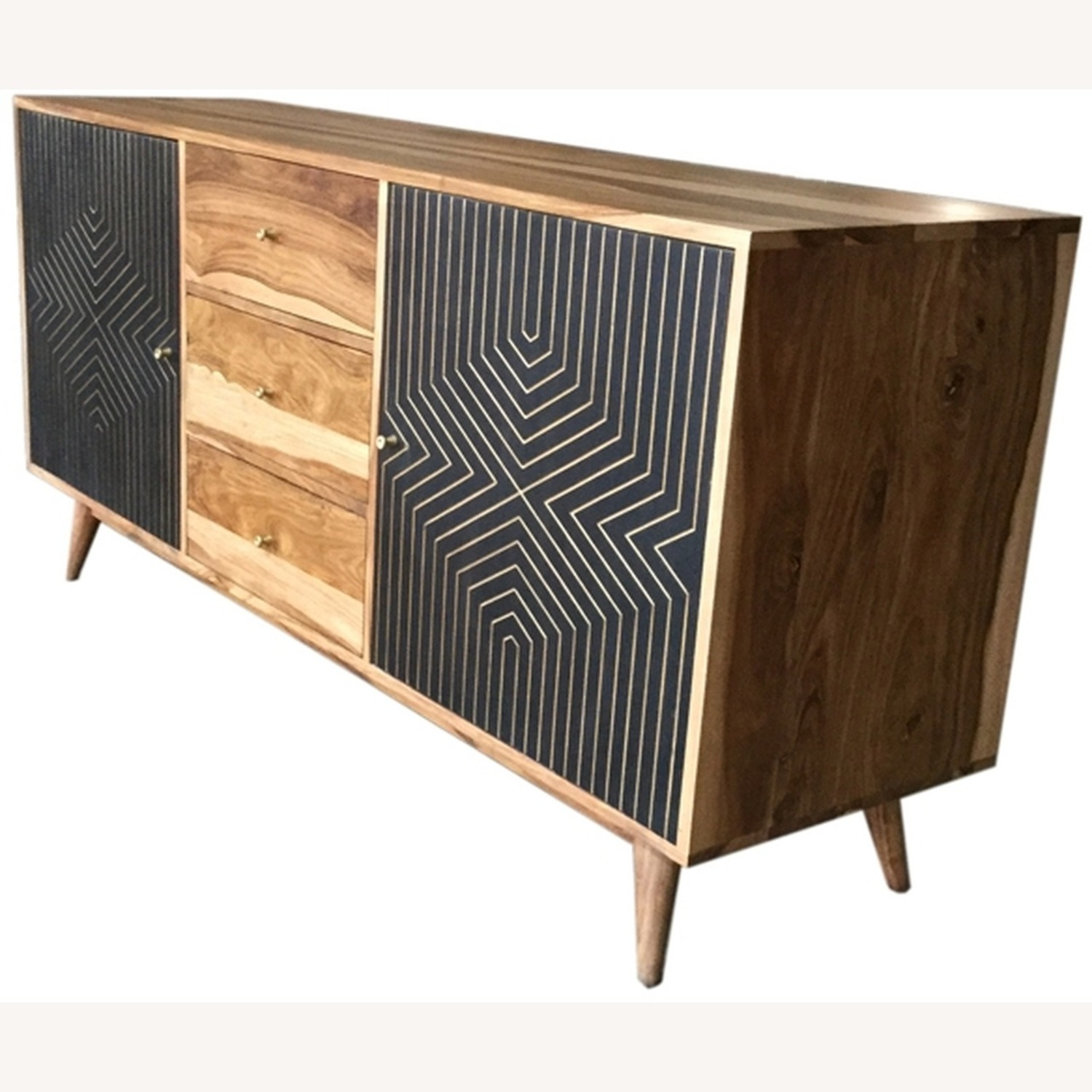 Server In Natural Finish W/ Art Deco Inspired - image-1