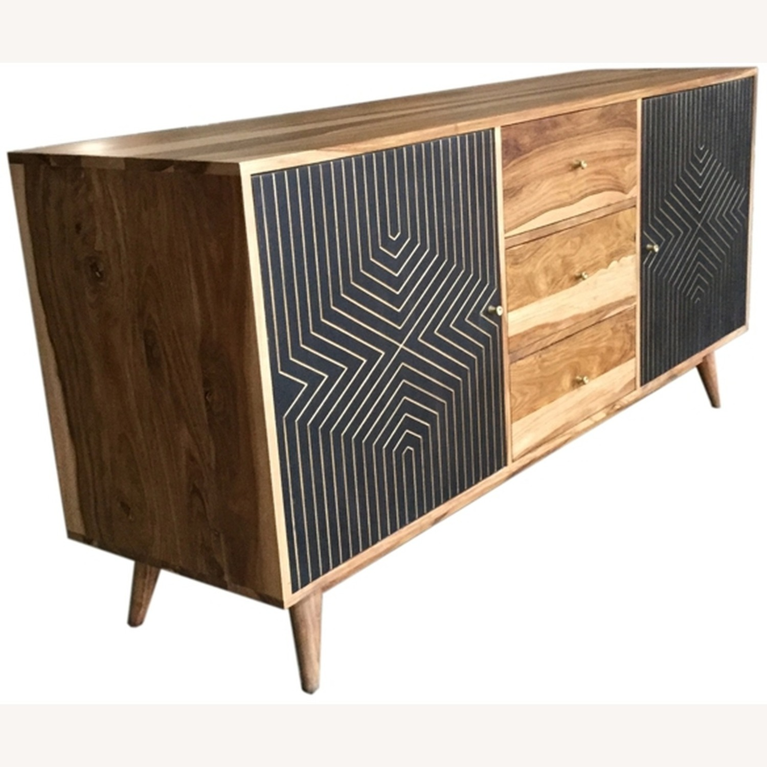 Server In Natural Finish W/ Art Deco Inspired - image-0