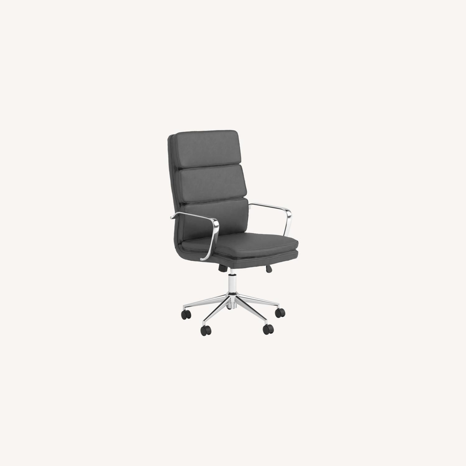 Office Chair In Black Cushion Leatherette Finish - image-8