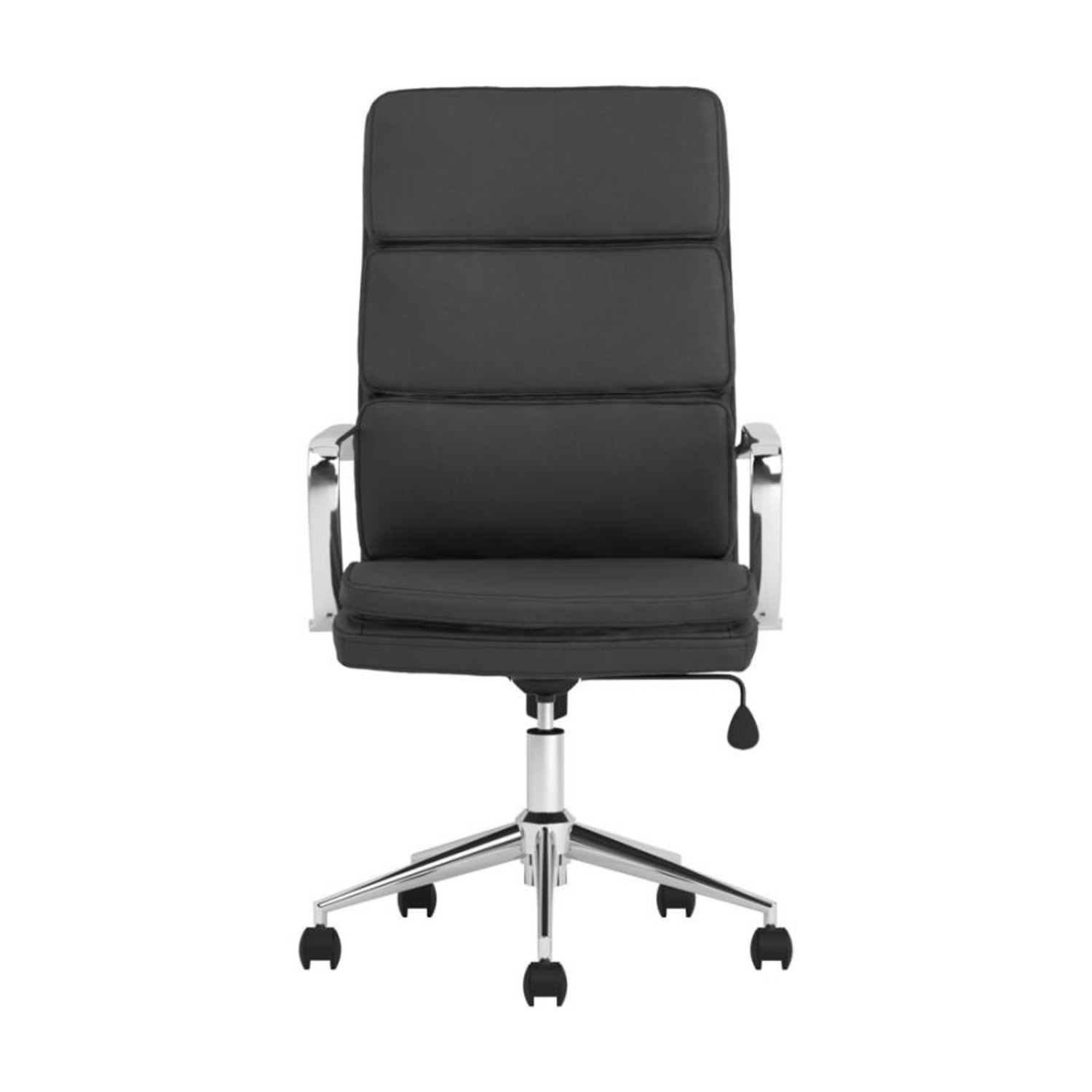 Office Chair In Black Cushion Leatherette Finish - image-1
