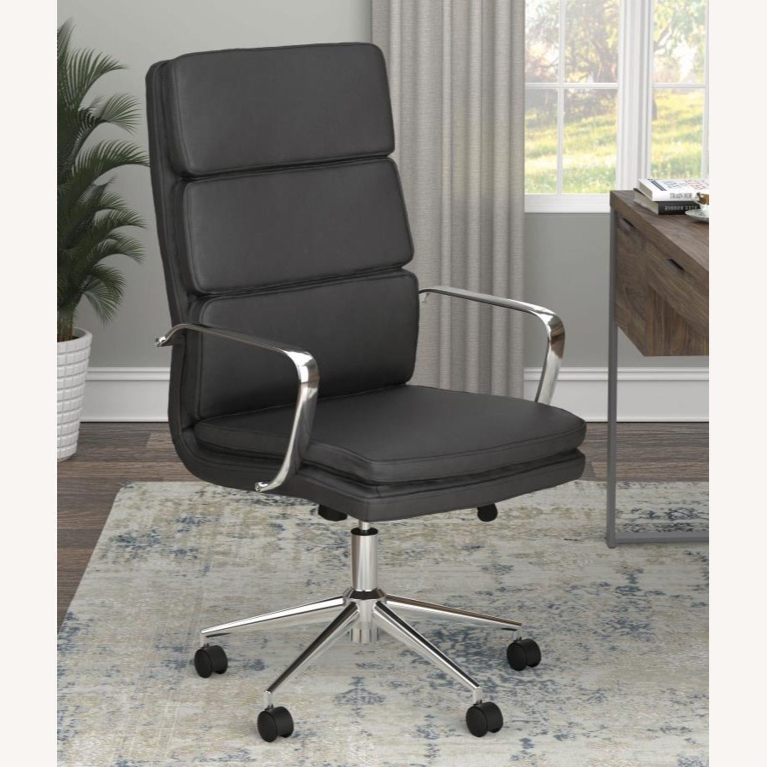 Office Chair In Black Cushion Leatherette Finish - image-6