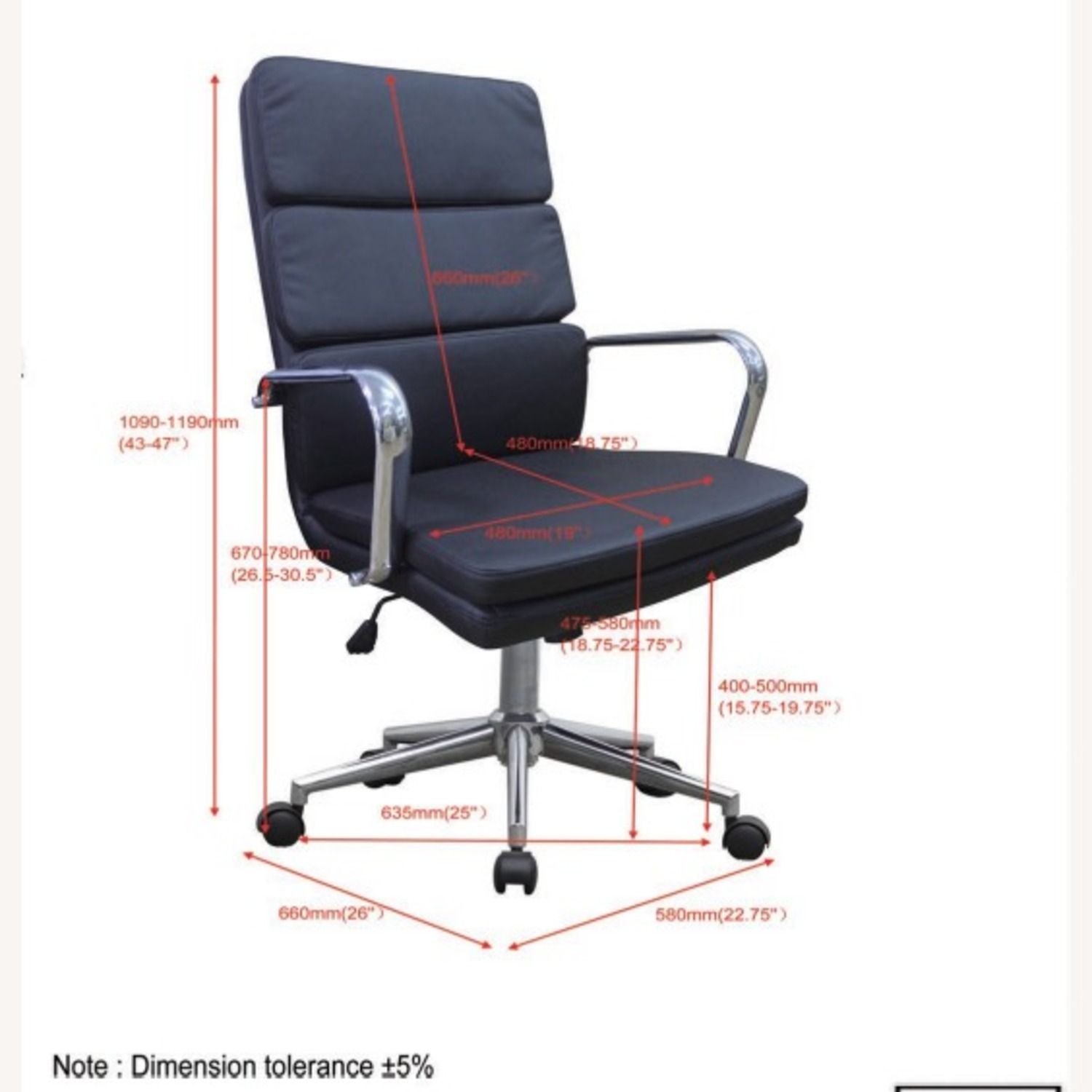 Office Chair In Black Cushion Leatherette Finish - image-7