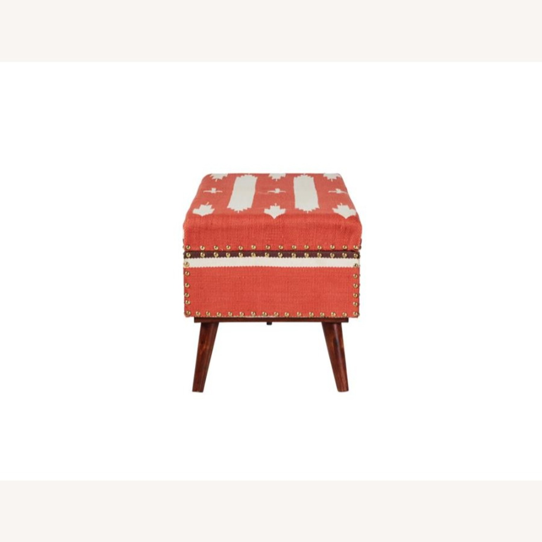 Modern Storage Bench In Orange Woven Cotton - image-2