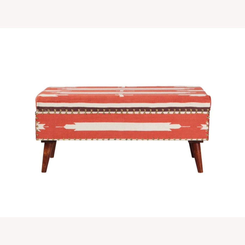 Modern Storage Bench In Orange Woven Cotton - image-1