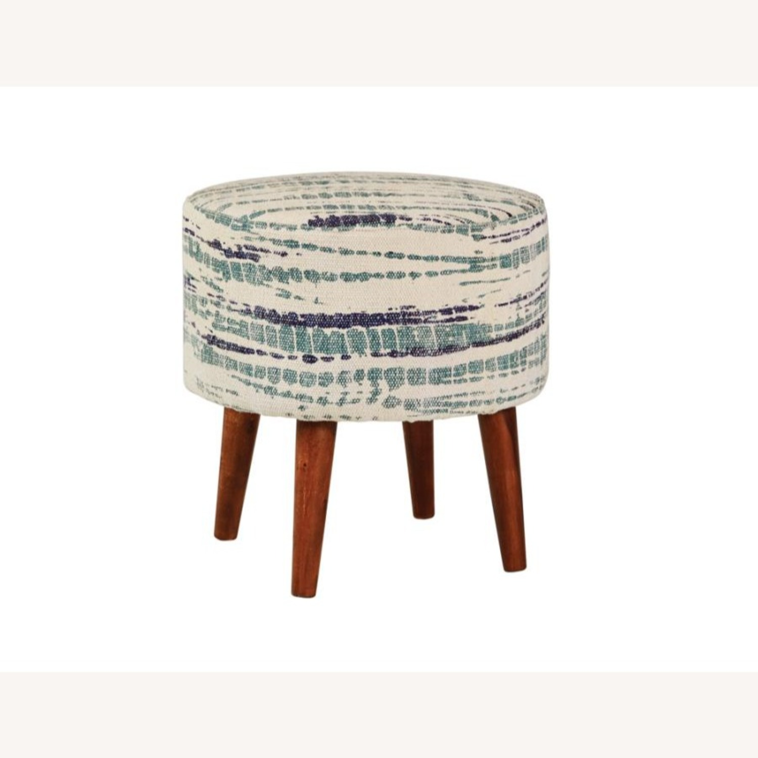 Accent Stool In Blue &White Patterned Woven Cotton - image-0