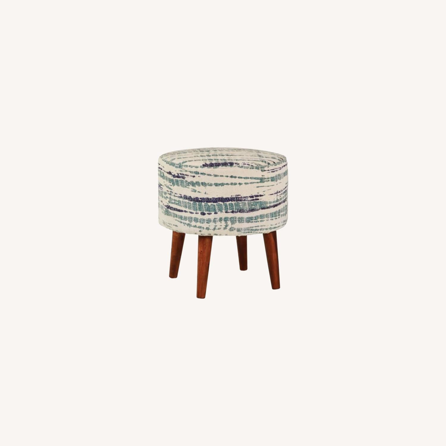 Accent Stool In Blue &White Patterned Woven Cotton - image-4
