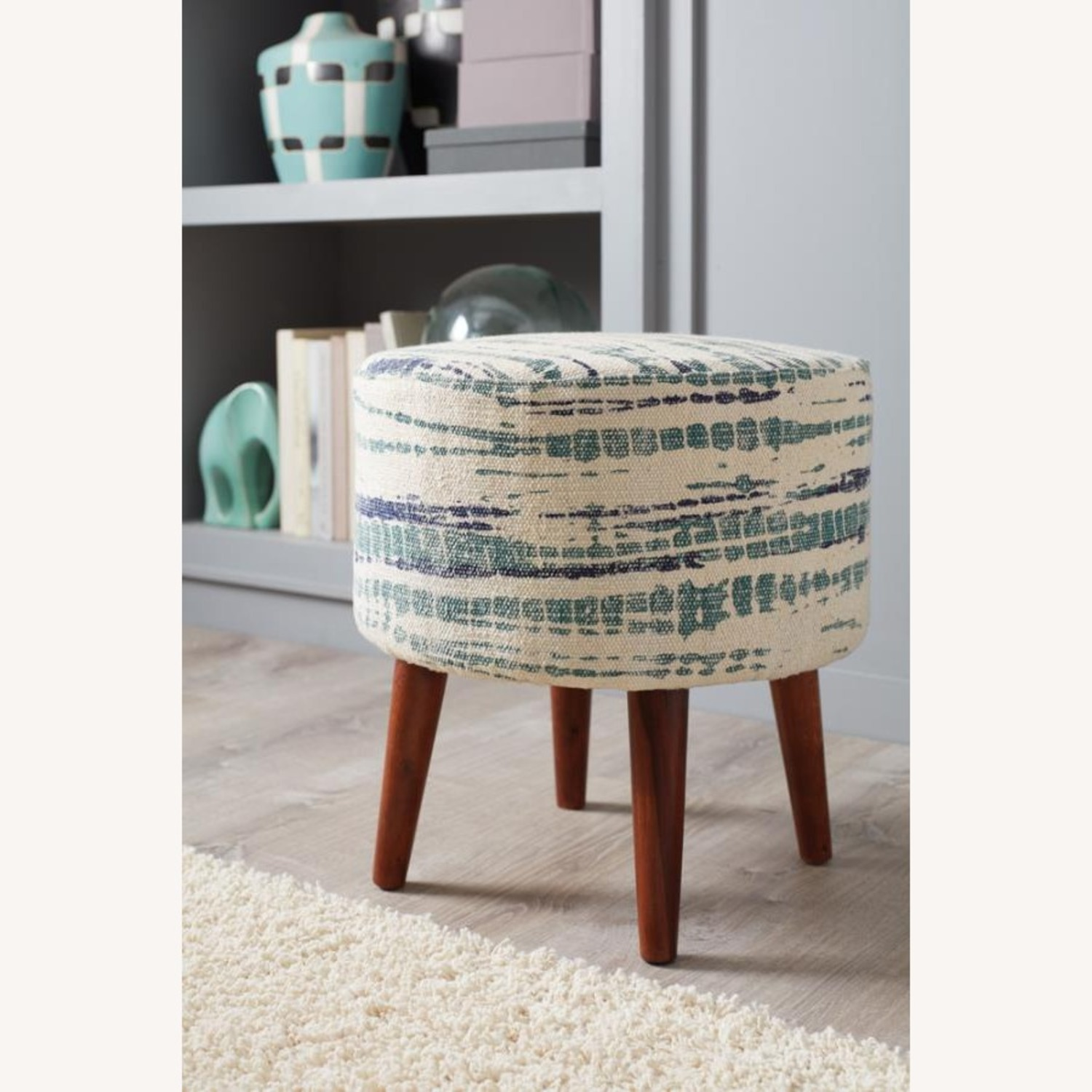 Accent Stool In Blue &White Patterned Woven Cotton - image-2