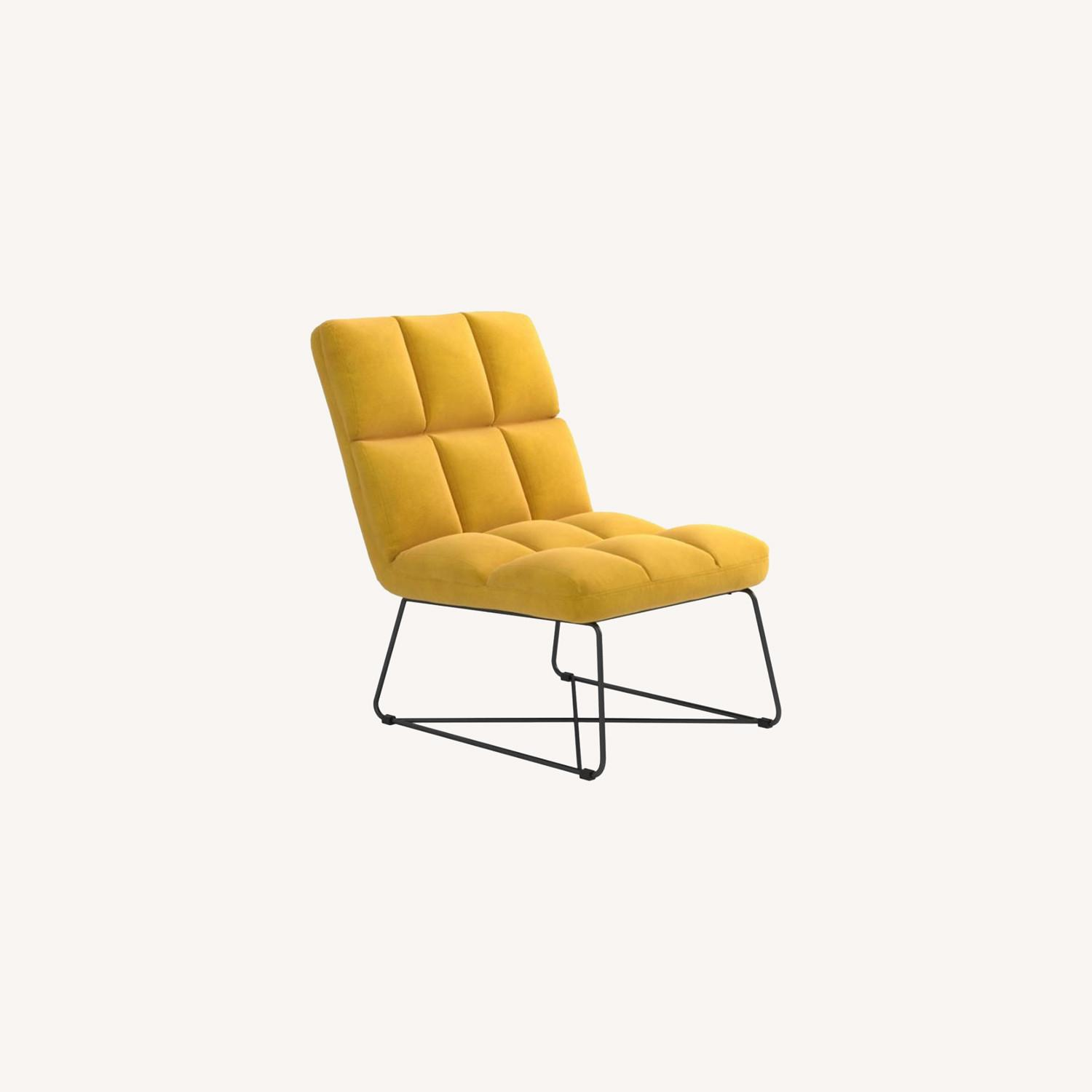 Accent Chair In Burnt Yellow Fabric & Grid Details - image-4