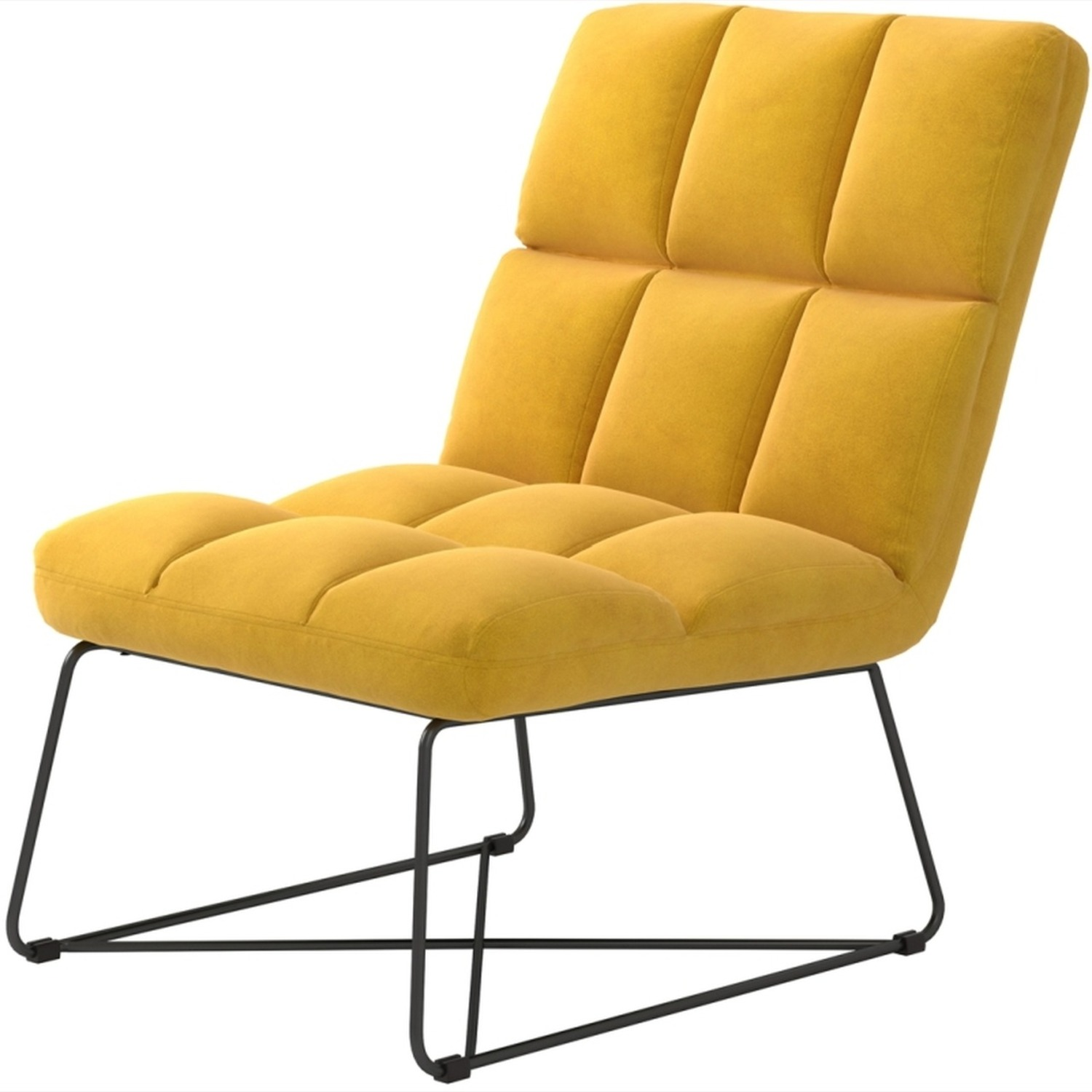 Accent Chair In Burnt Yellow Fabric & Grid Details - image-1